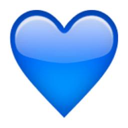 corazones emoticono corazon azul
